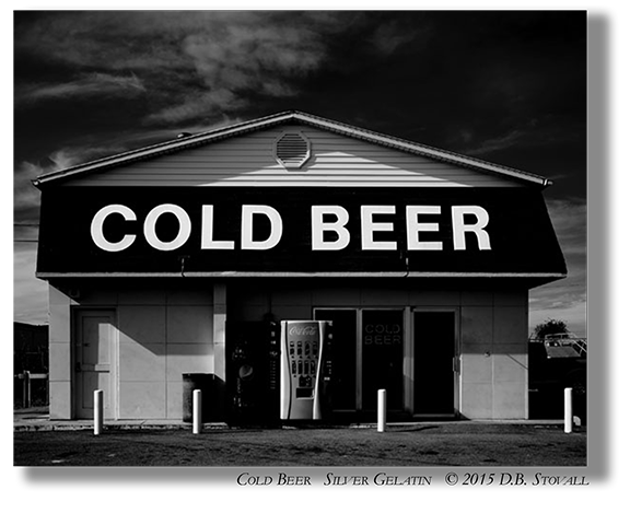 Photogathering Cold Beer DB Stovall silver gelatin with drop shadow byline merged layers